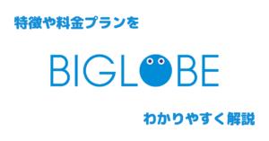 【格安SIM】BIGLOBEモバイルを徹底解説。特徴や料金プランなど詳しくまとめてみた。